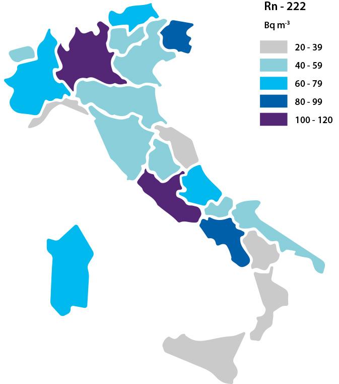 concentrazione del radon nelle varie regioni italiane